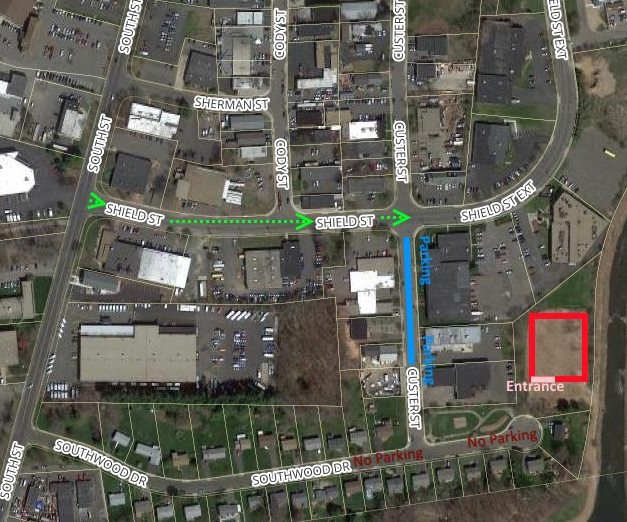 Map to Southwood Drive pop up, with parking directions